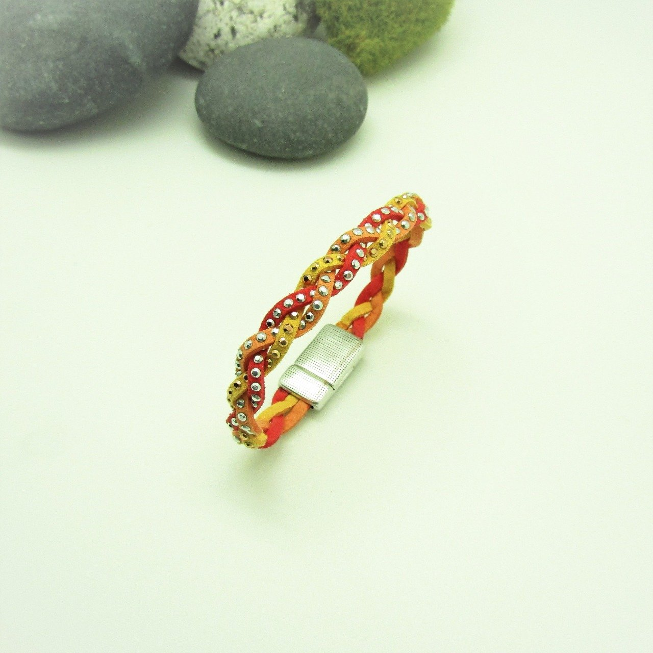 BRACELET BRAID CORAIL ORANGE  JAUNE